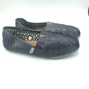 Toms Black Classic Glitter Sparkle Slip Ons